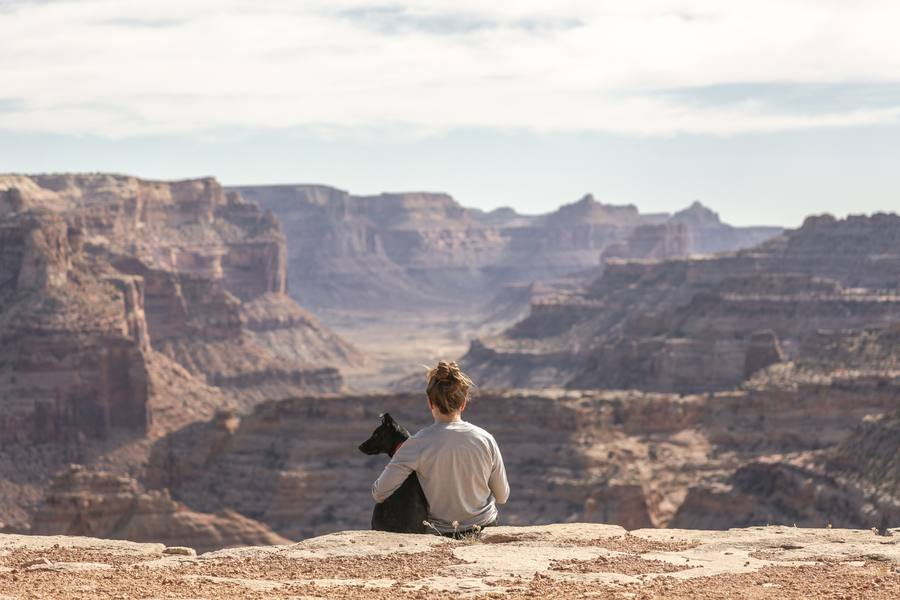 Grand Canyon Girl With Dog Photo