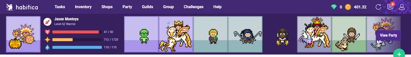Habitica Partial Dashboard
