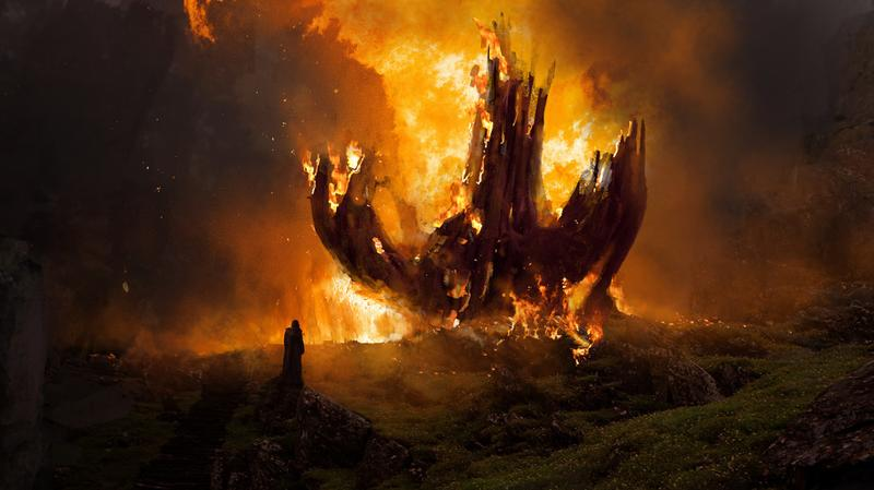 The Last Jedi Tree Burning Down