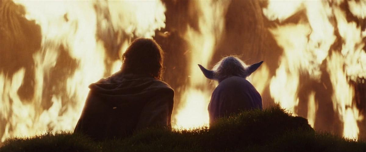 Luke & Yoda watching the jedi tree burn