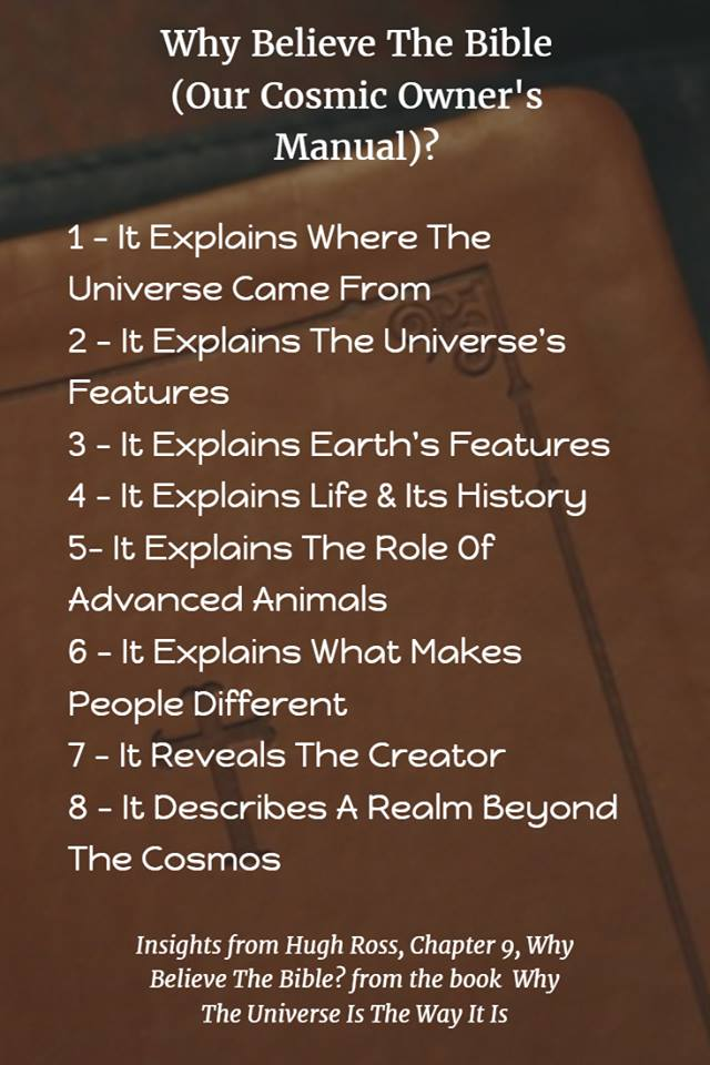 Graphic: Why believe the bible - cosmic owners manual