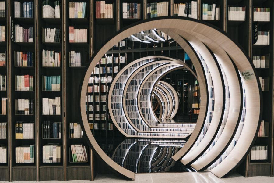 Books, creatively designed library