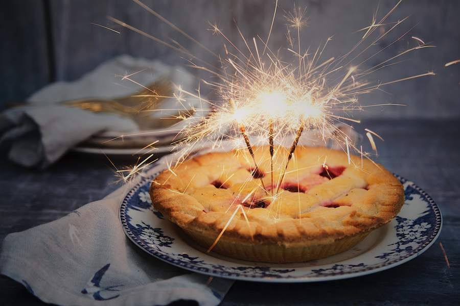 Pie With Three Sparklers Sparking